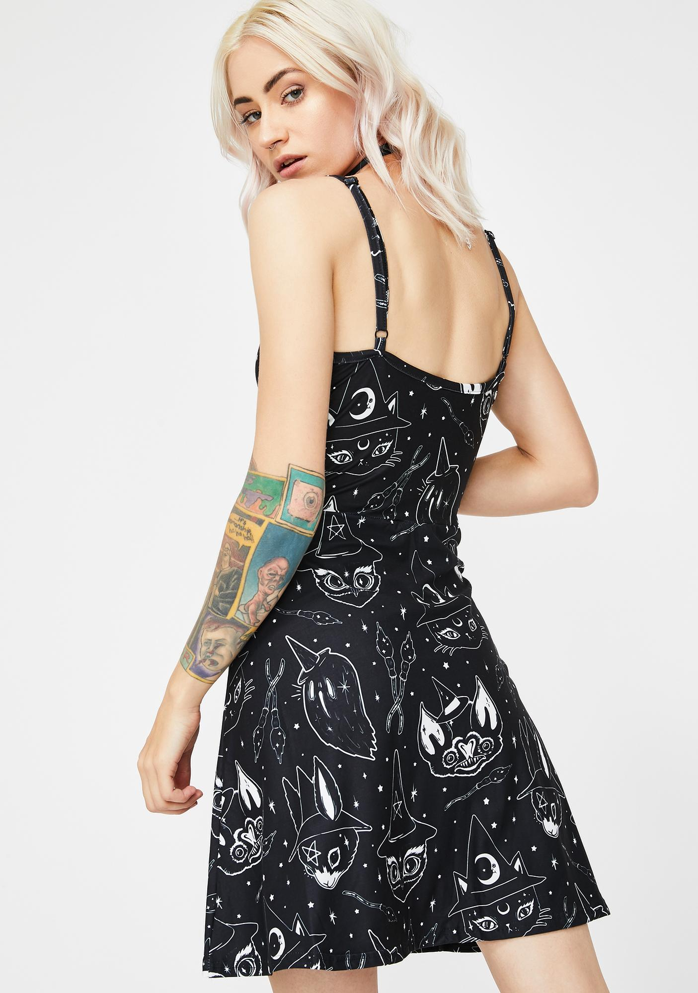 Too Fast Witchy Animals Lolle Ginger Skater Dress