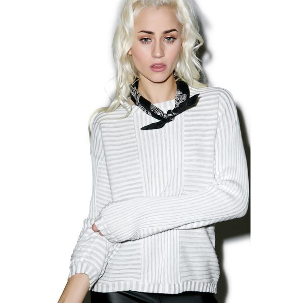 For Love & Lemons Switch Stripe Bell Sleeve Sweater