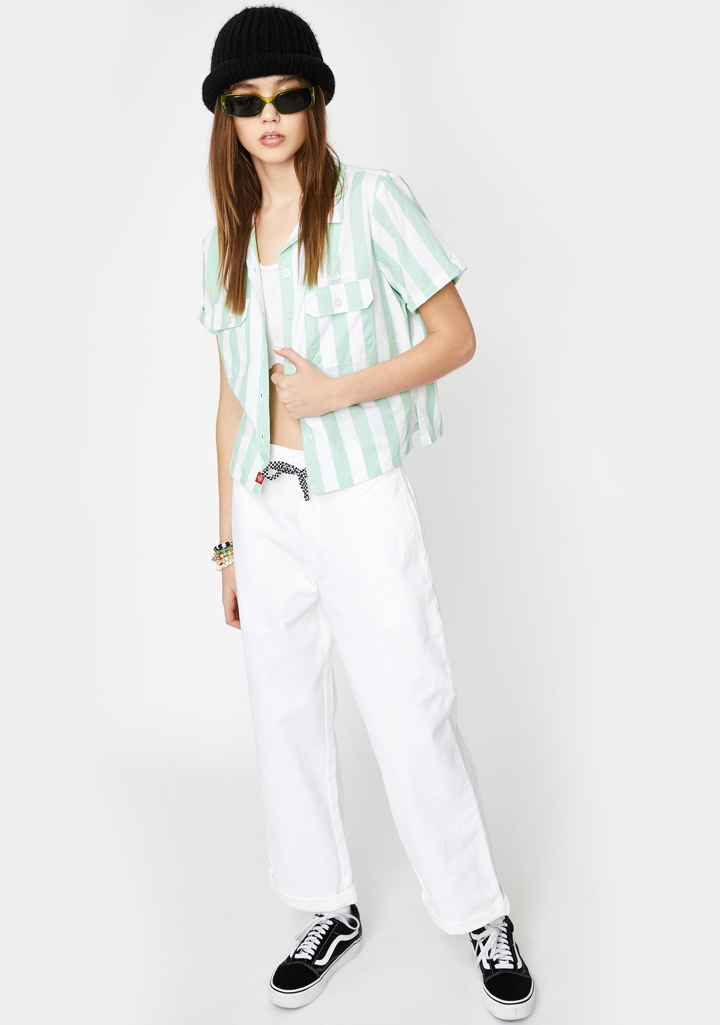 Dickies Girl Mint Striped Short Sleeve Button Up Shirt