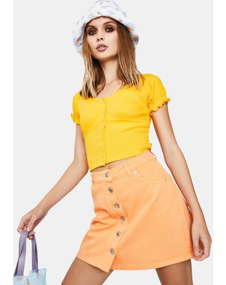 Yellow Button Front Milkmaid Crop Top