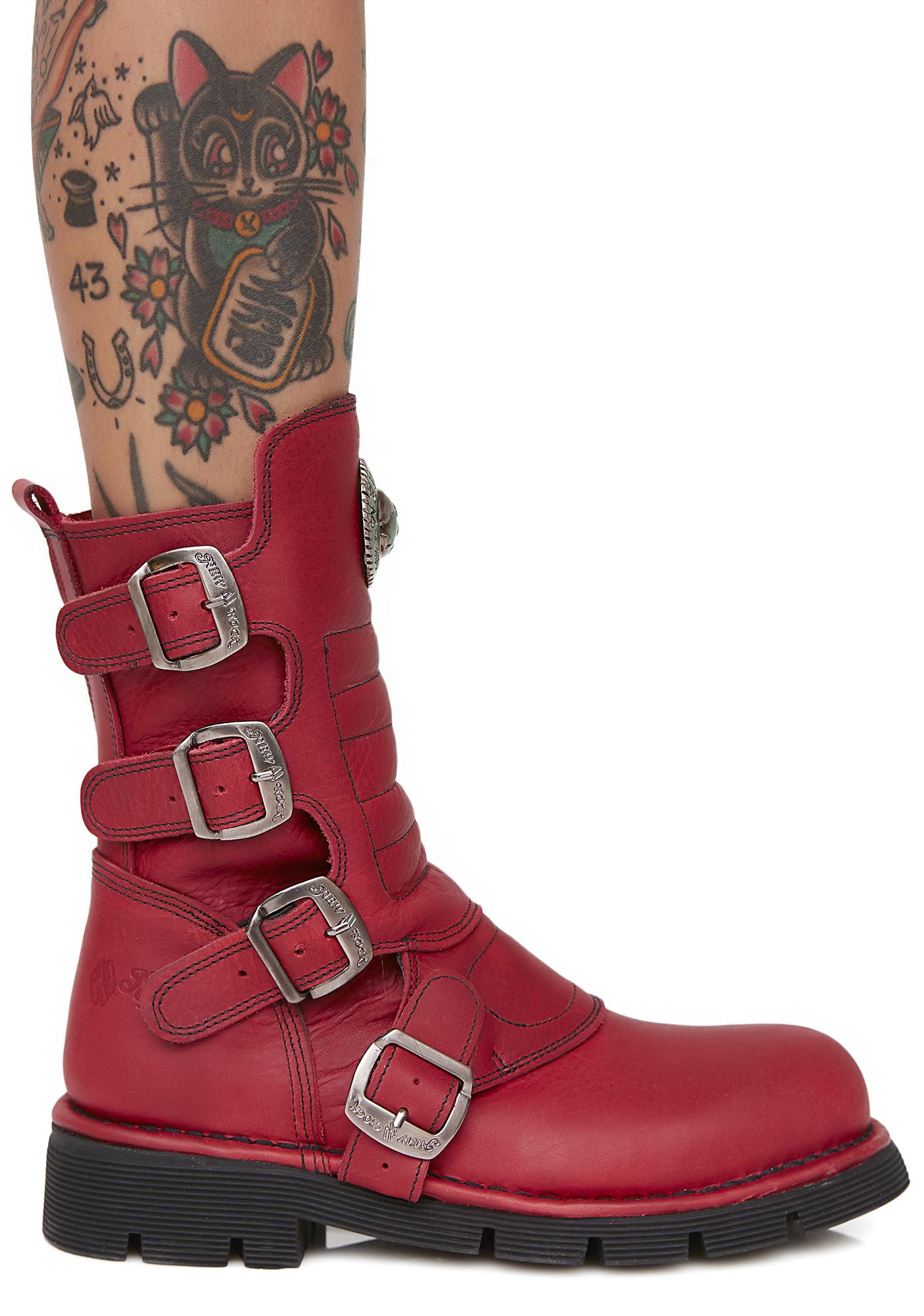 New Rock Tanked Buckle Boots