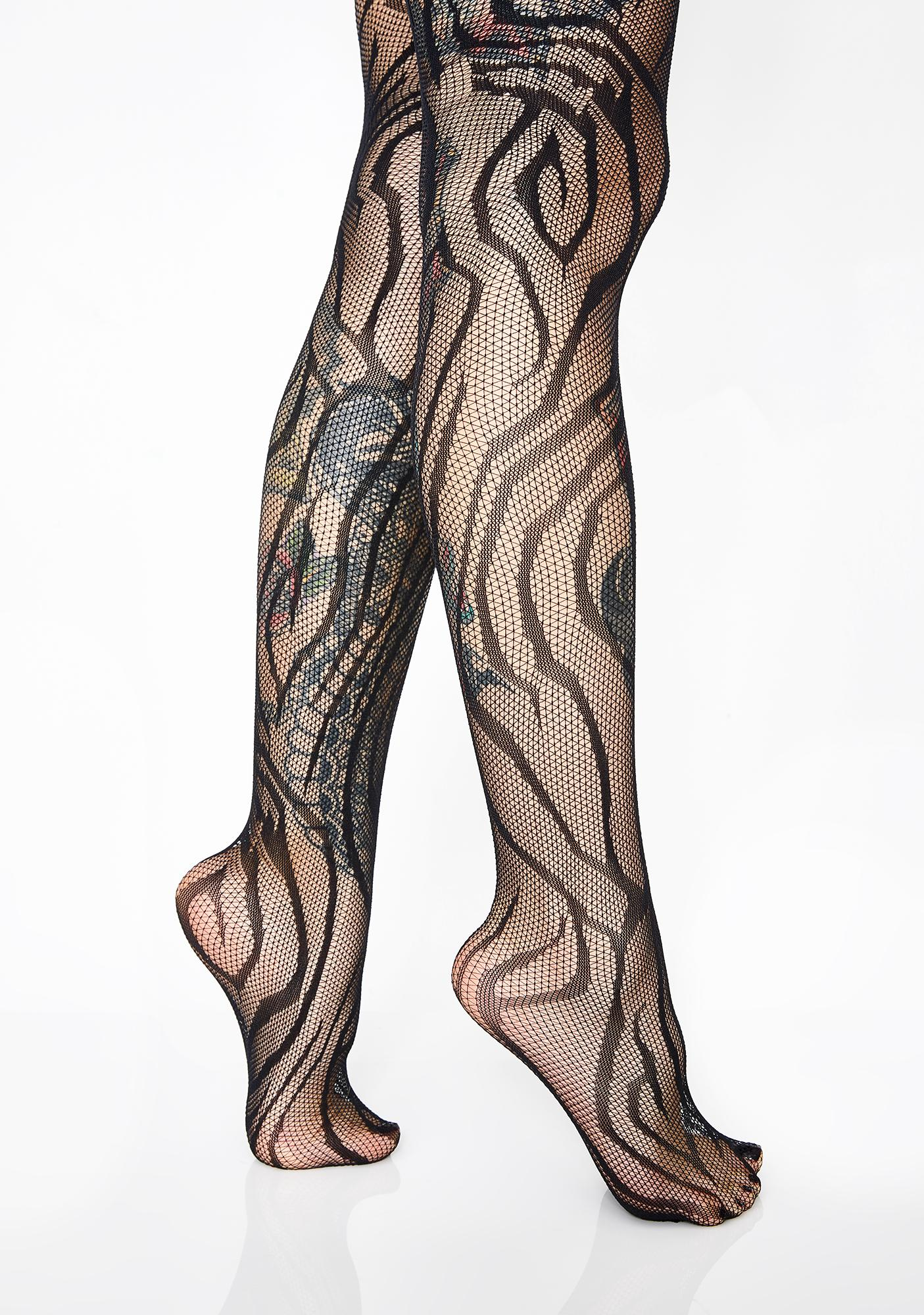 86b2bc3381701 Tiger Stripe Sheer Tights | Dolls Kill