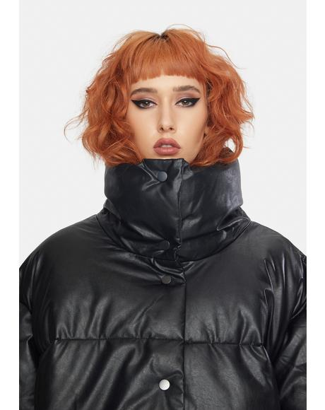 Black Vegan Leather Puffer Jacket