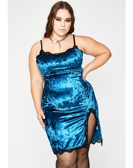 Teal BB Read Into Me Velvet Dress