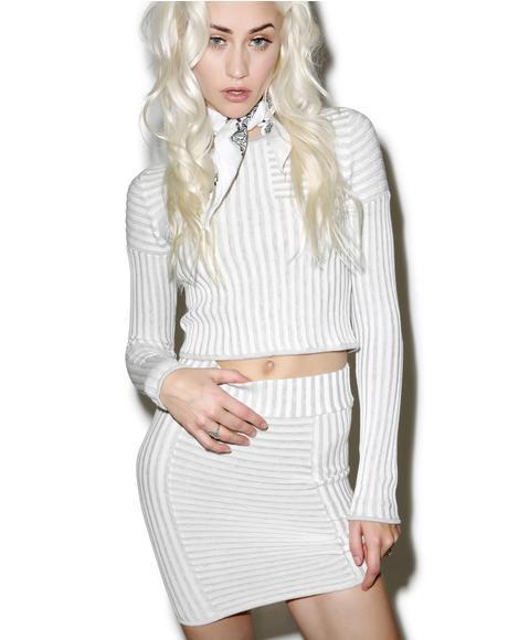 Switch Stripe Grey Mini Skirt