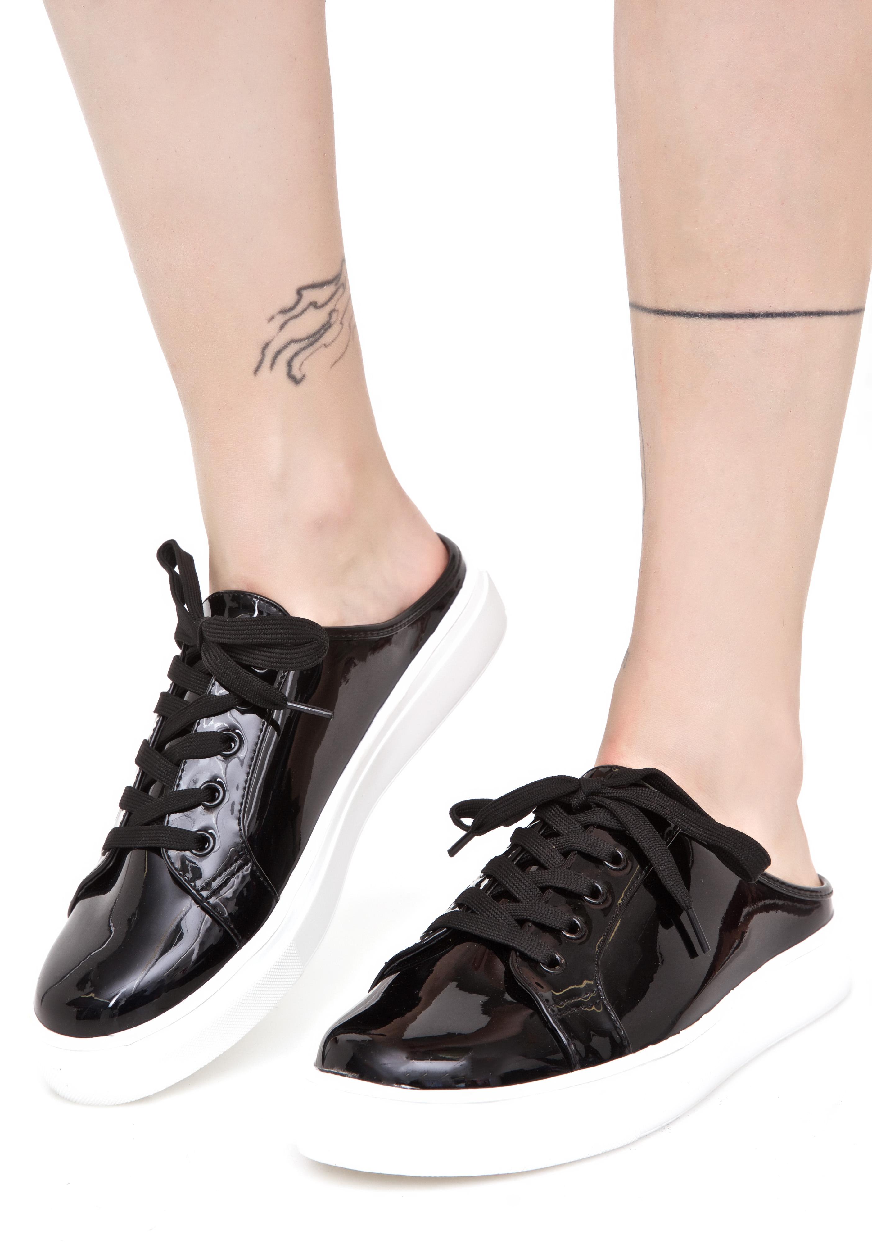Black Patent Sneaker Mules