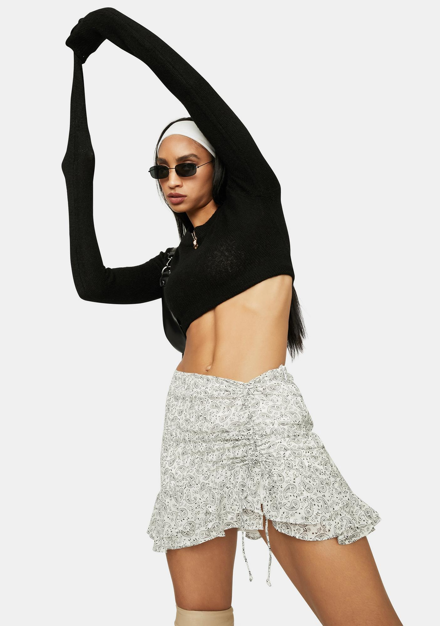 Paisley Princess Ruffle Mini Skirt