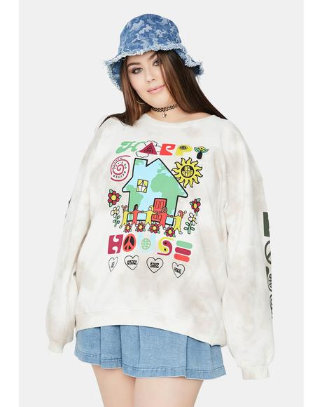 Curve Happy House Tie Dye Crewneck Sweatshirt