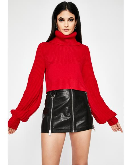 Crimson Before You Go Turtleneck Sweater