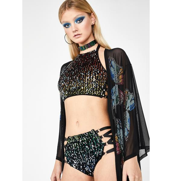 Club Exx Acid Technotopia Sequin Shorts