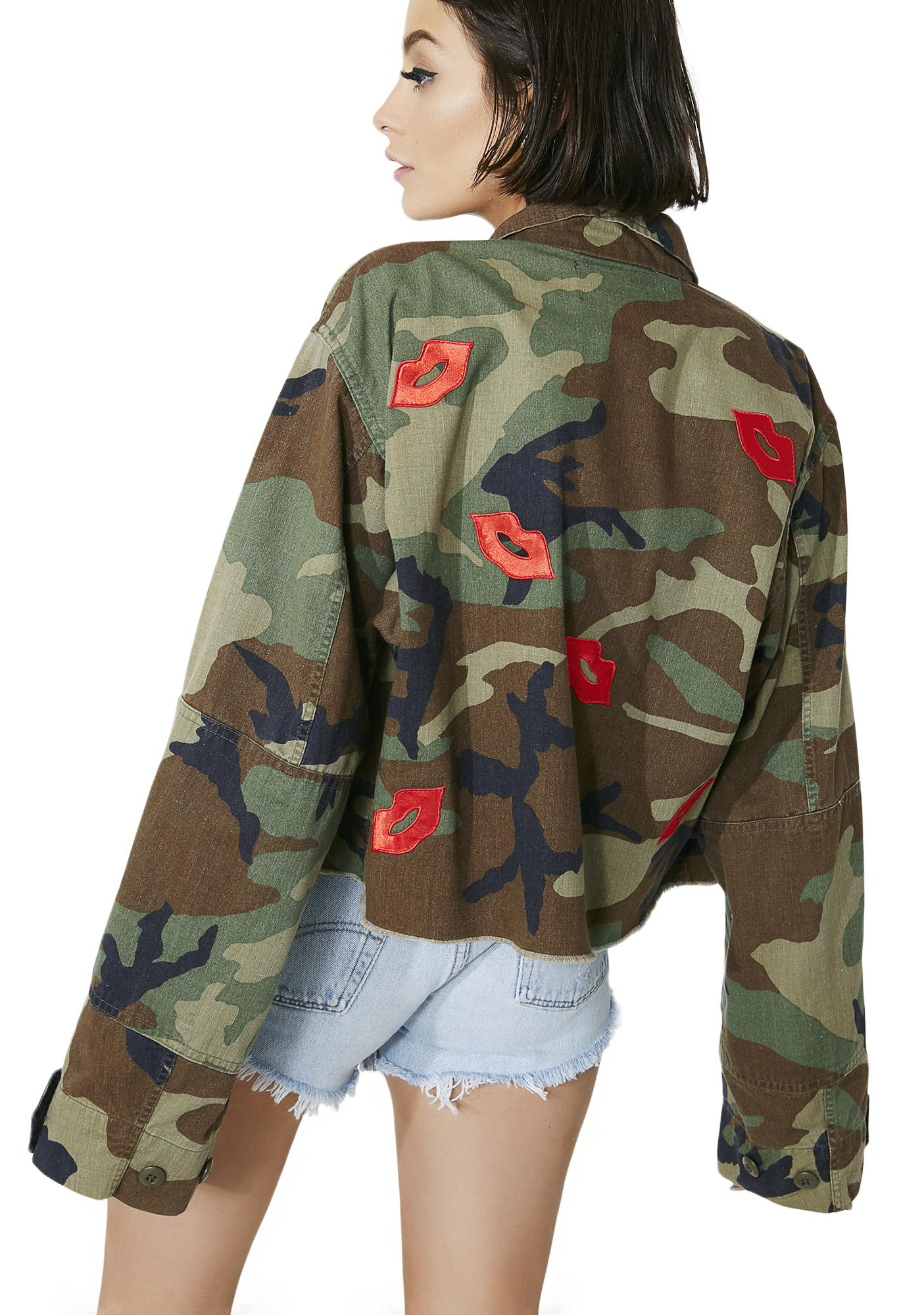 American Vintage Lip Patches Camo Jacket