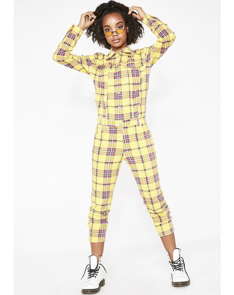 Caution Grunge Gang Plaid Jumpsuit