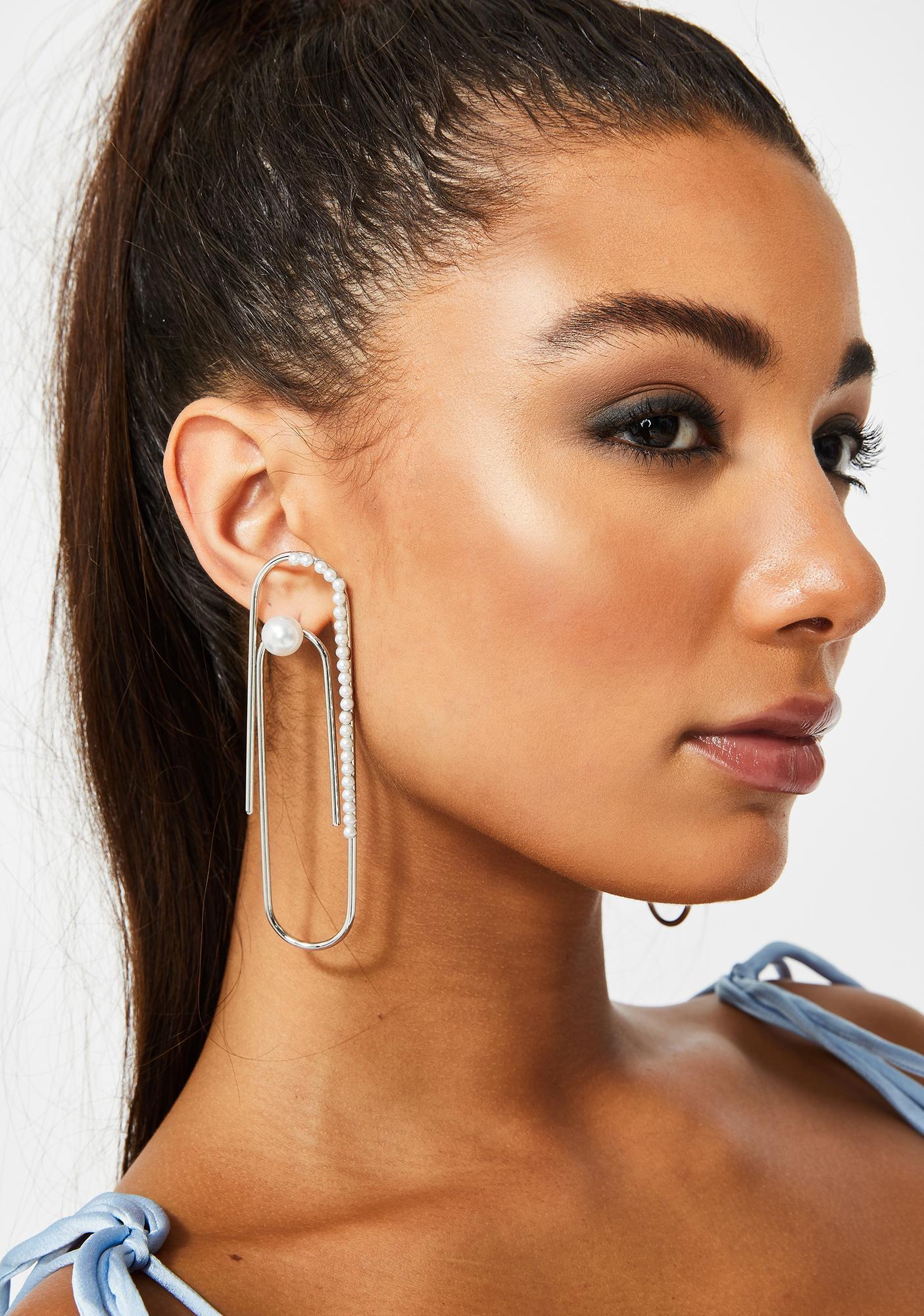 Paper Clip Pearl Drop Earrings