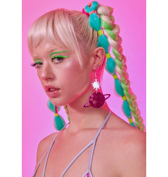 Rolita Rave Couture Star Planet Mirrored Earrings