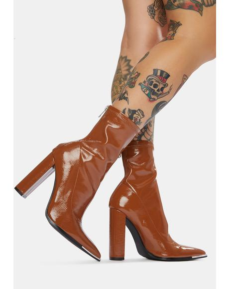 Brown Affection Patent Heels