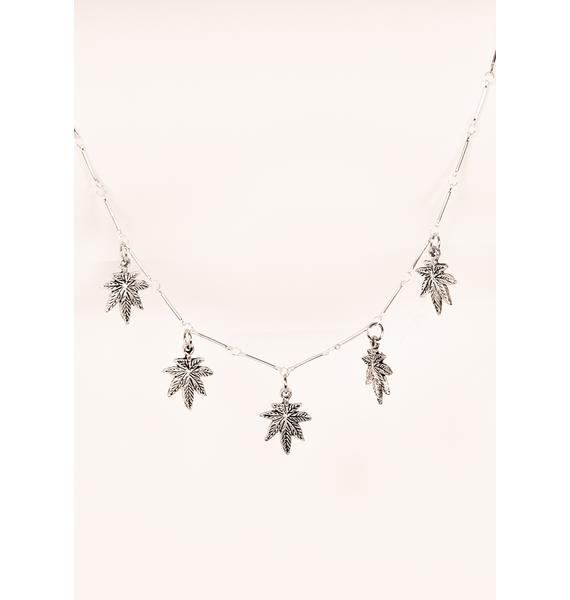 Desert Moon Silver Leaf Charm Necklace
