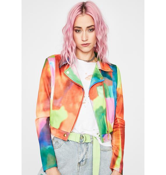 Watercolor Skies Moto Jacket