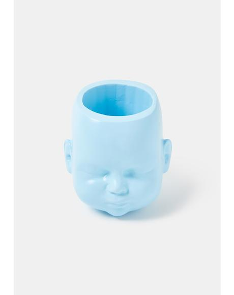 Blue Baby Doll Head Pot