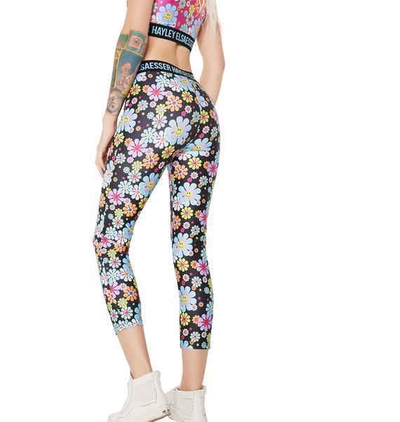 Hayley Elsaesser Flower Smiley Face Leggings