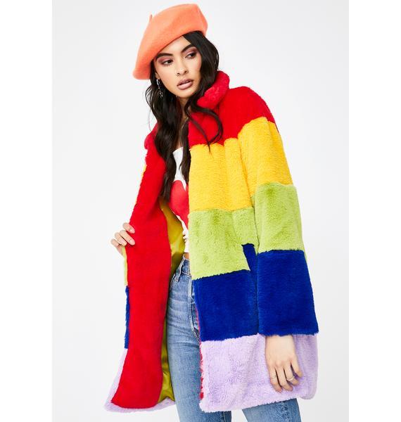 Daisy Street Rainbow Faux Fur Coat