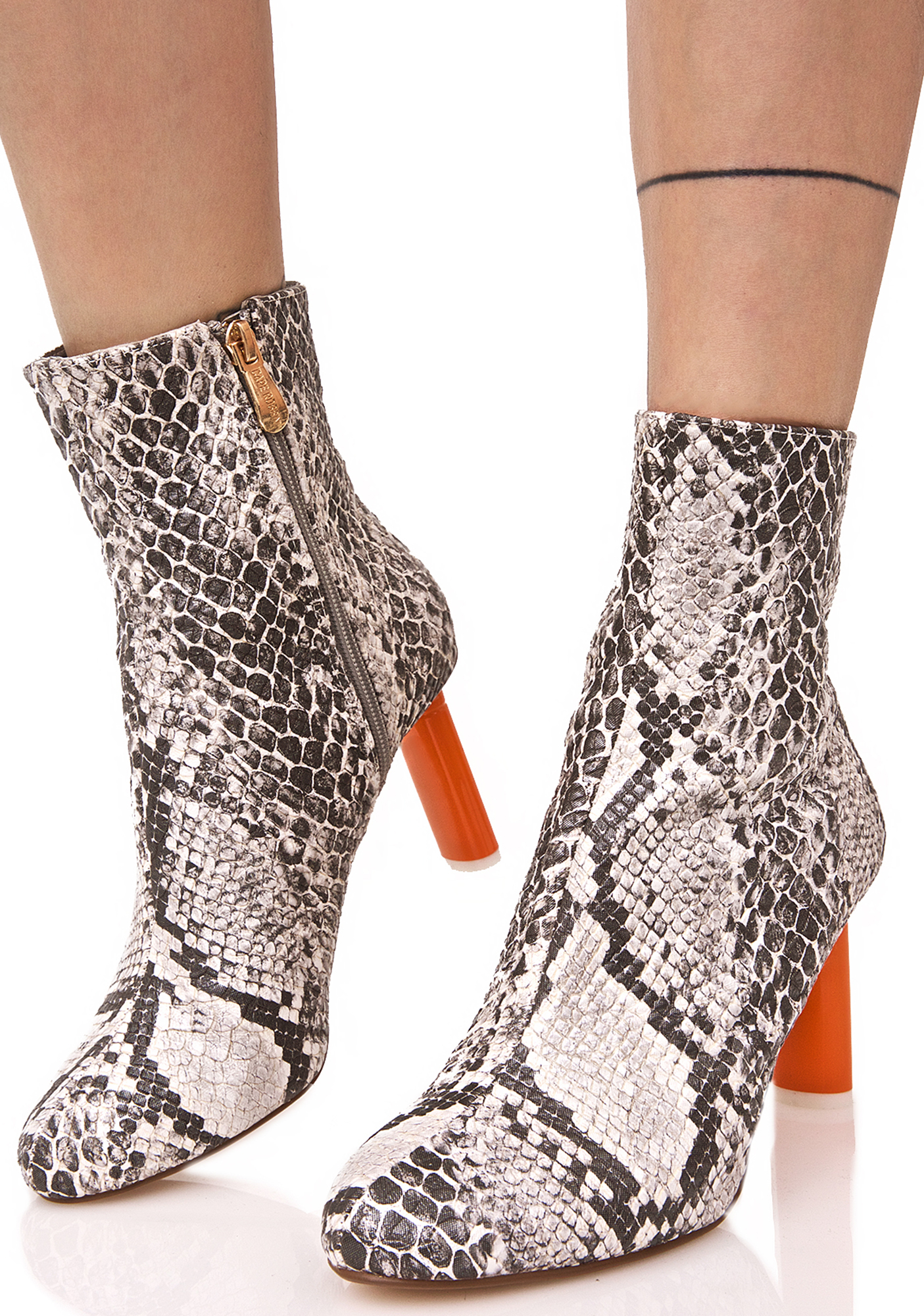 Grey Snakeskin Contrast Ankle Boots