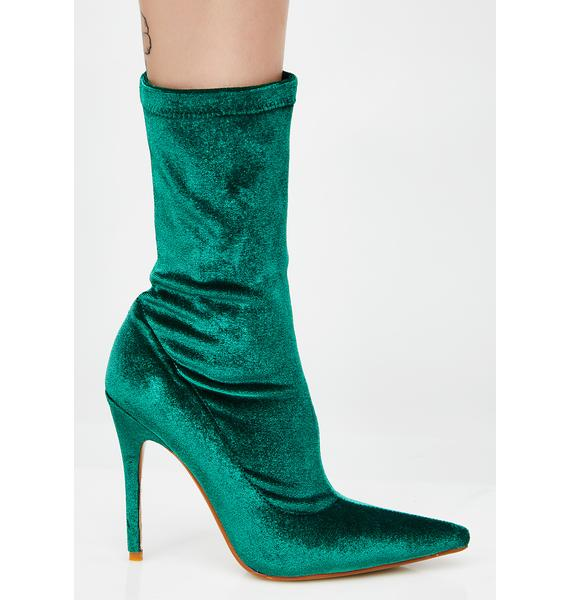 Public Desire Deep Green Direct Point Toe Ankle Boots