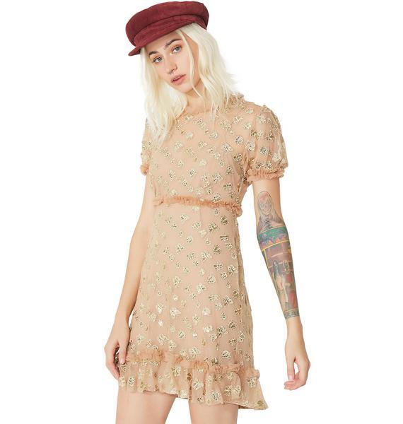 For Love & Lemons Golden Garden Tulle Mini Dress