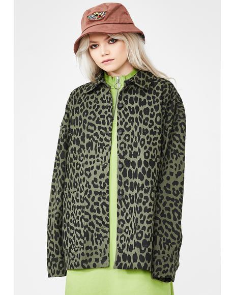 Khaki Leopard Chore Jacket