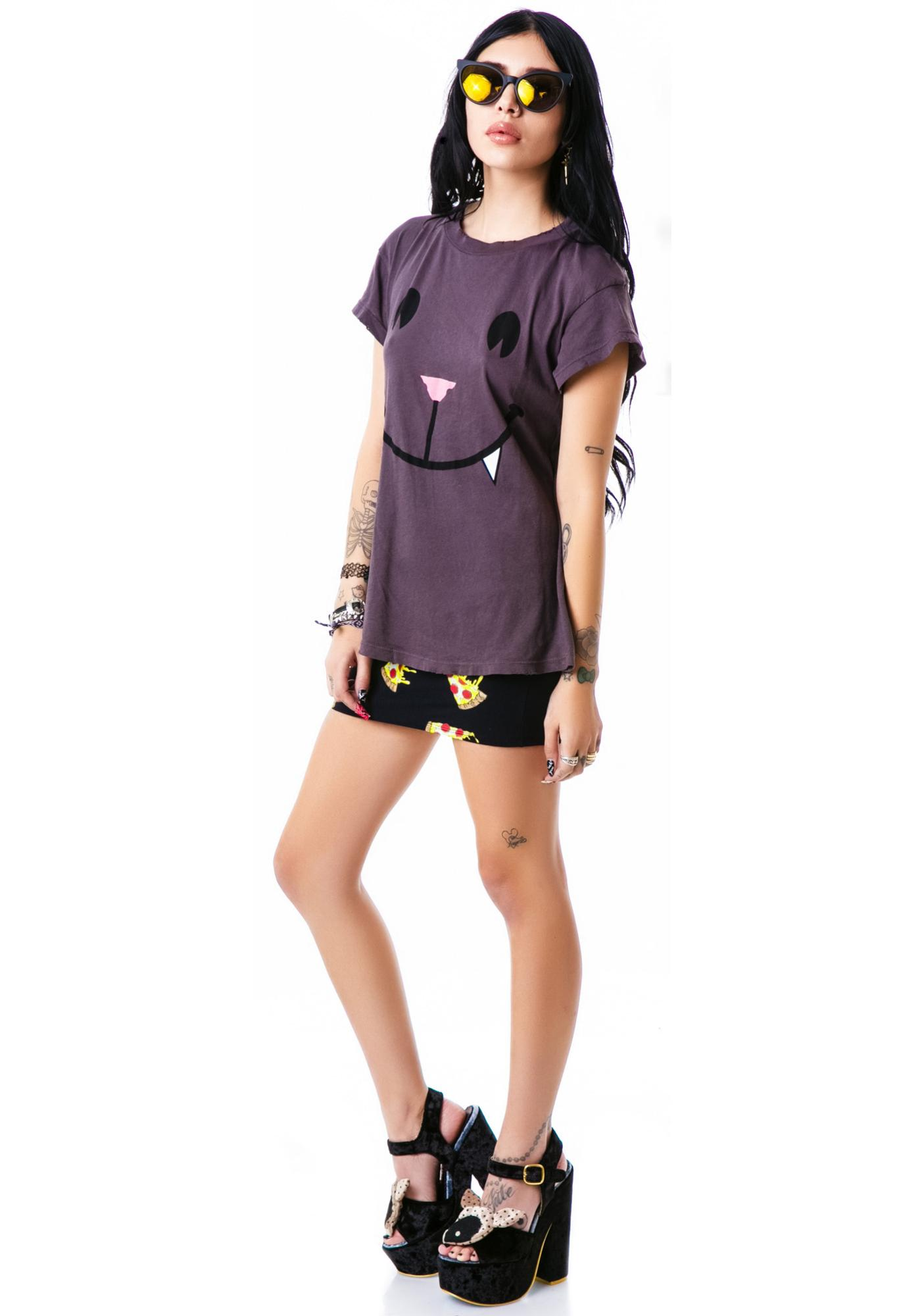 Wildfox Couture Naughty Cat Face Desert Crew