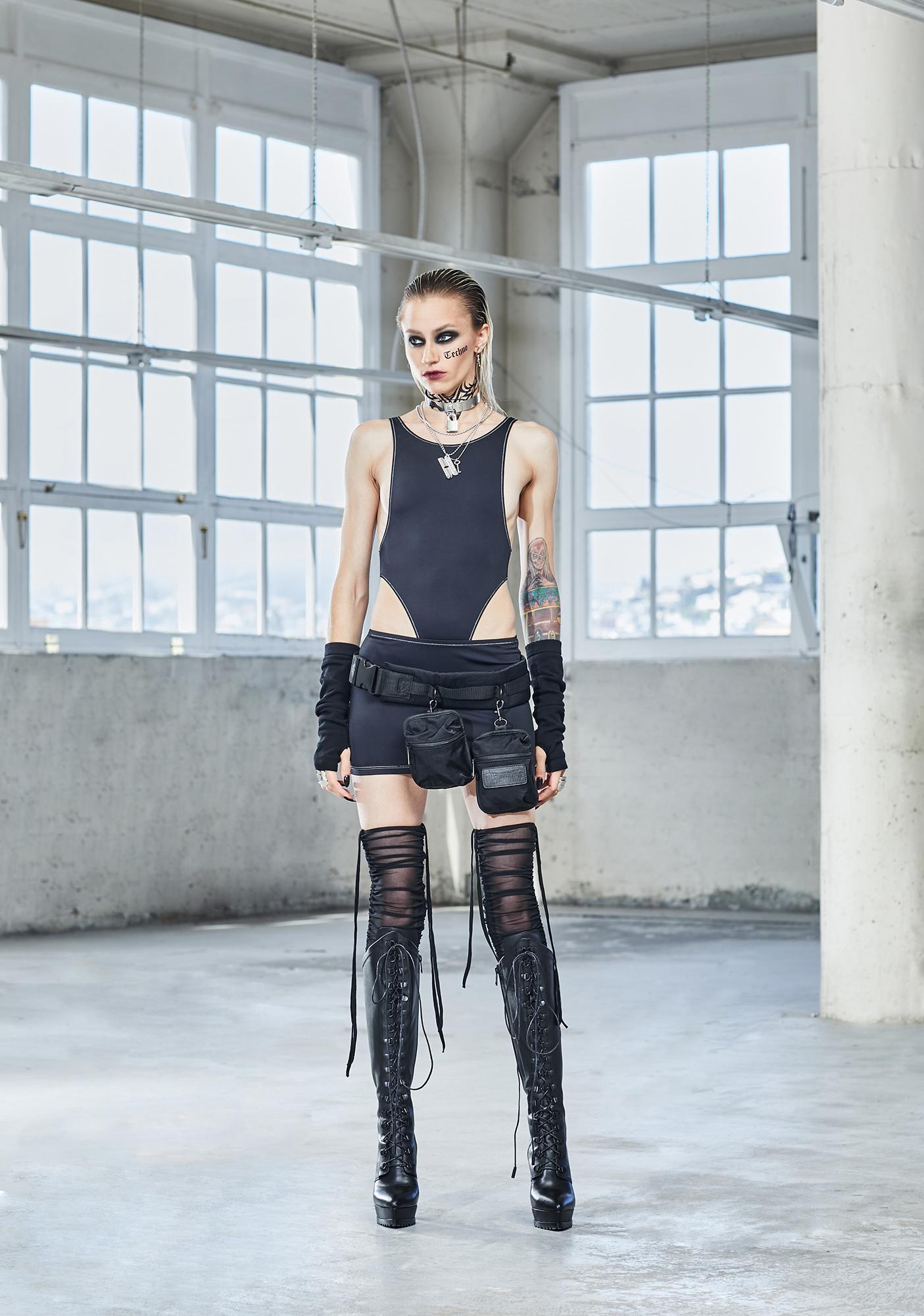 DARKER WAVS Bassline High Waist Contrast Stitch Bodysuit