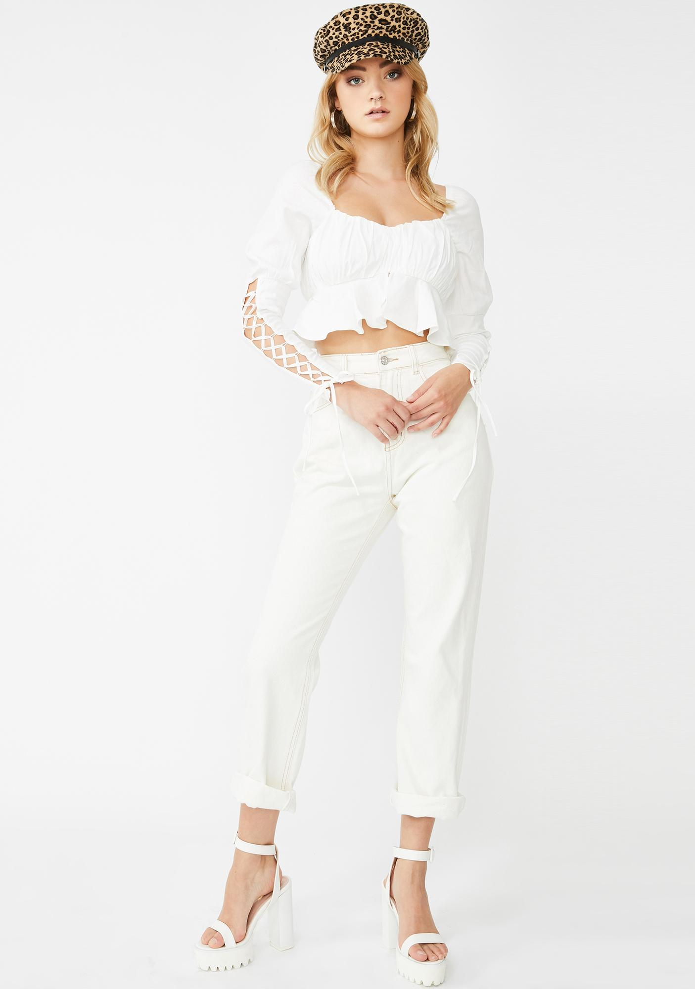 Honey Punch Heavenly Serenity Lace-Up Blouse