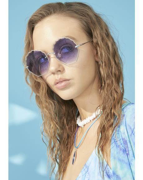 Azure Steal My Sunshine Oversized Sunglasses
