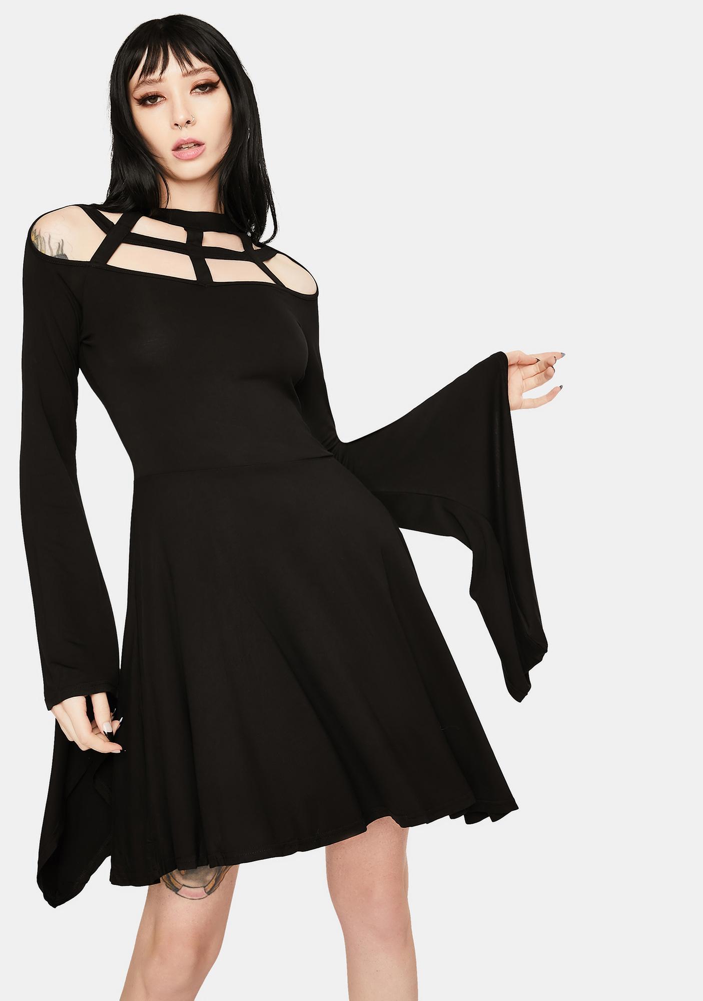 Dark In Love Long Sleeve Shoulder Detail Mini Dress