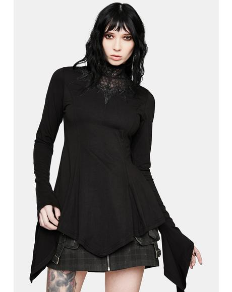 Gothic Sleeve Web Collar T-Shirt