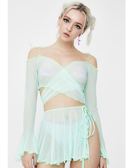 Minty Faerie Mesh Wrap Top