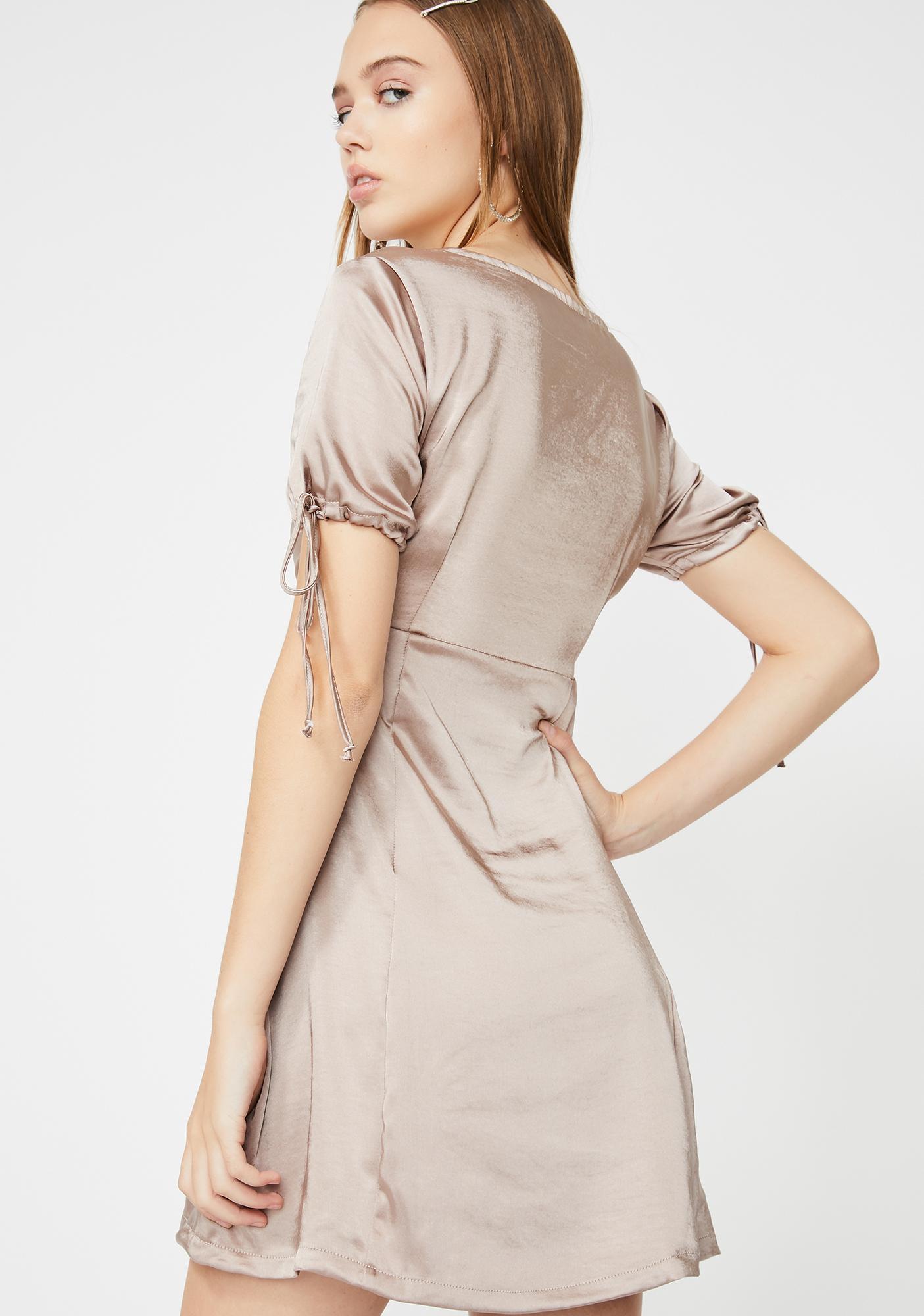Motel Taupe Guenette Satin Dress