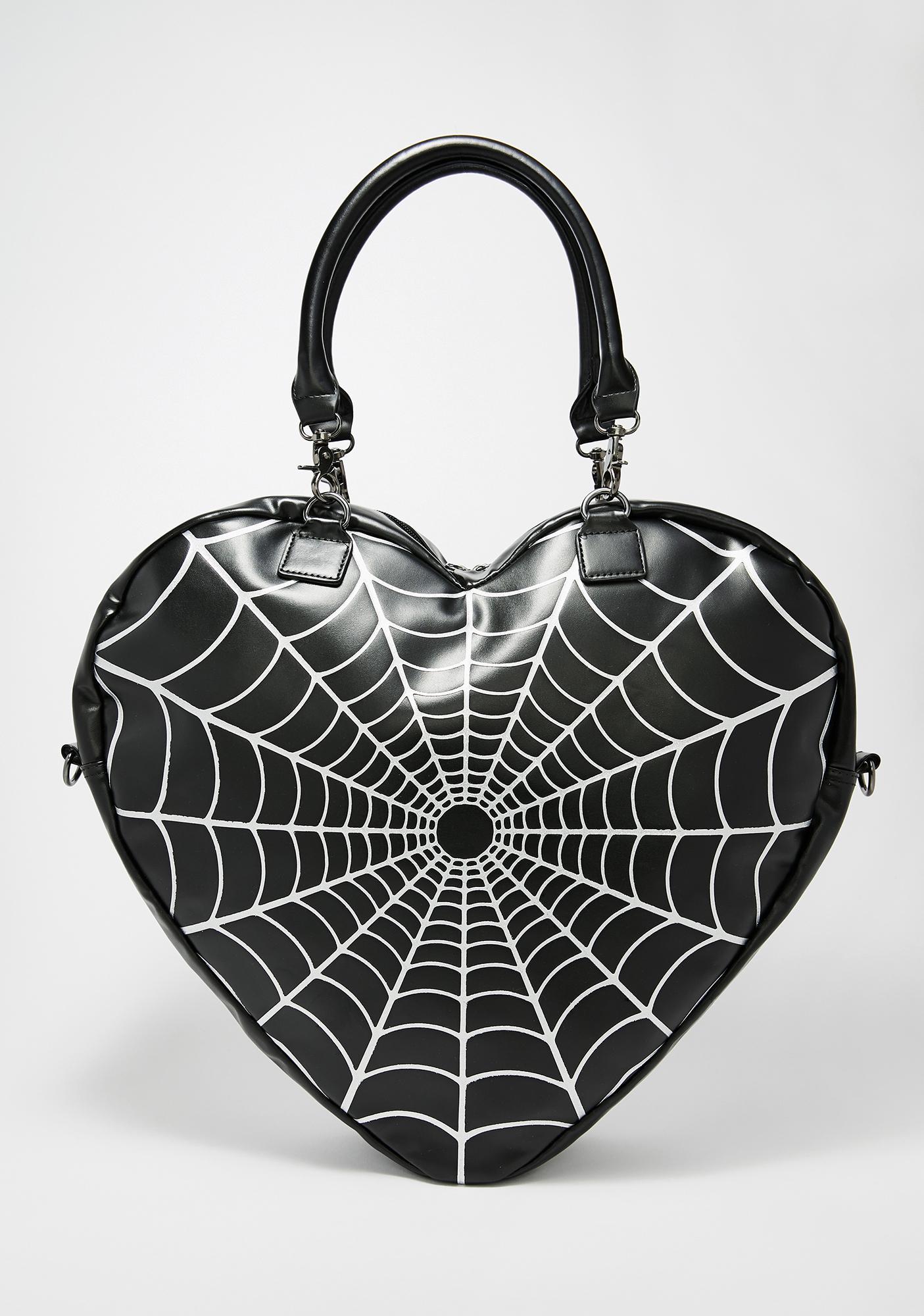 Kreepsville 666 Cobweb Sparkle Heart Bag
