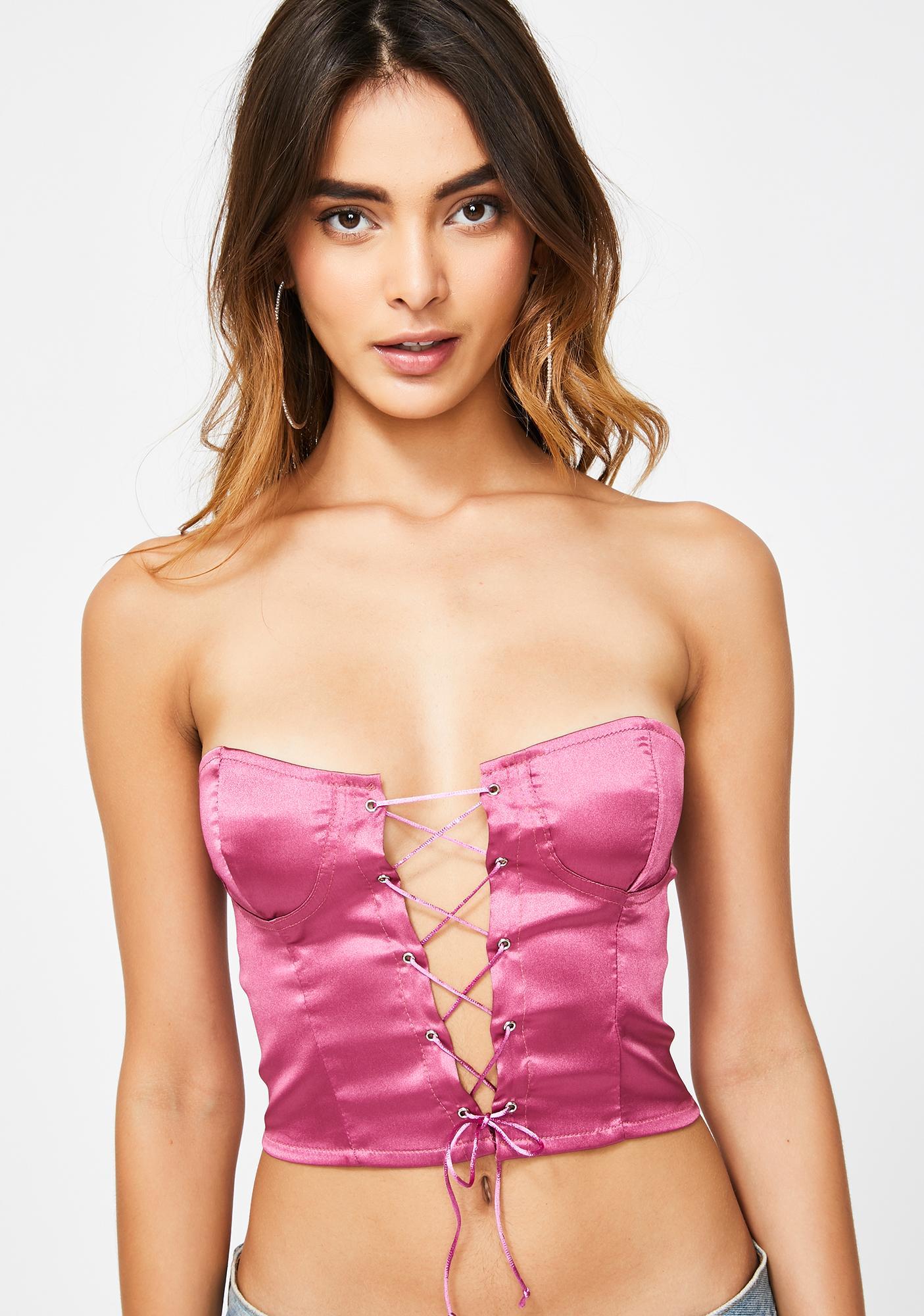 ZEMETA Pink Lace Up Bustier