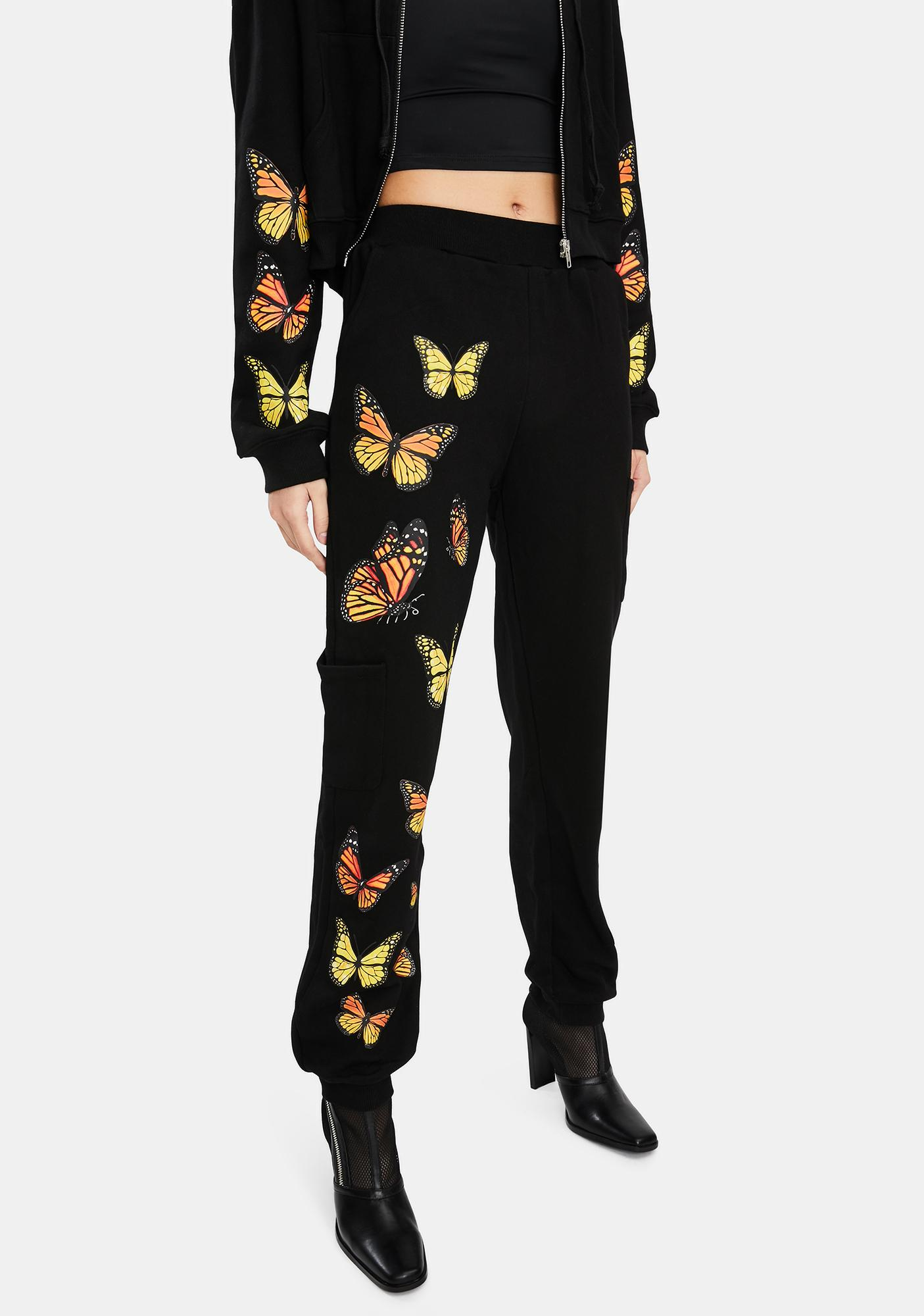 THE KRIPT Black Monarch Butterfly Sweatpants