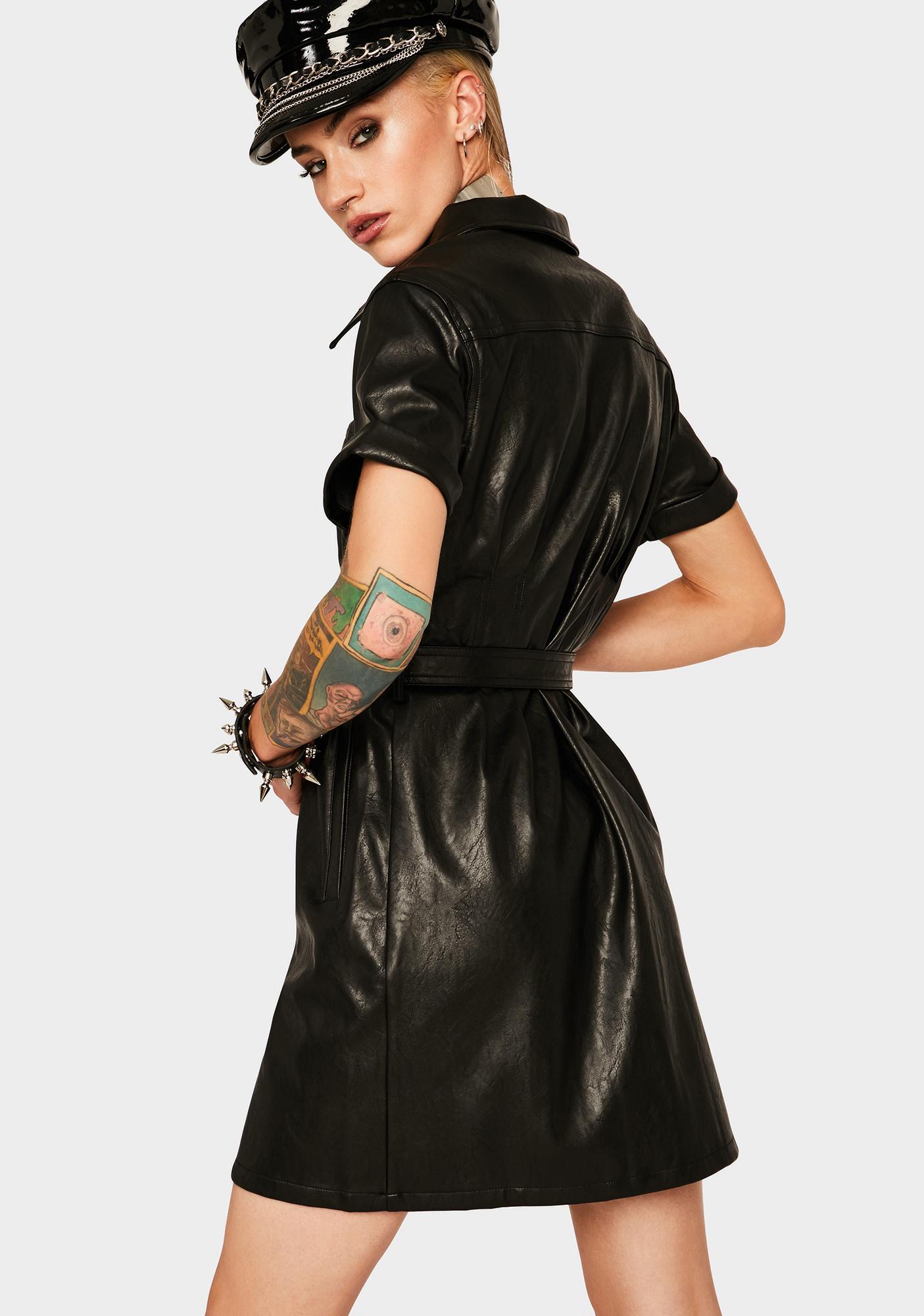 Twiin Highway Vegan Leather Mini Dress