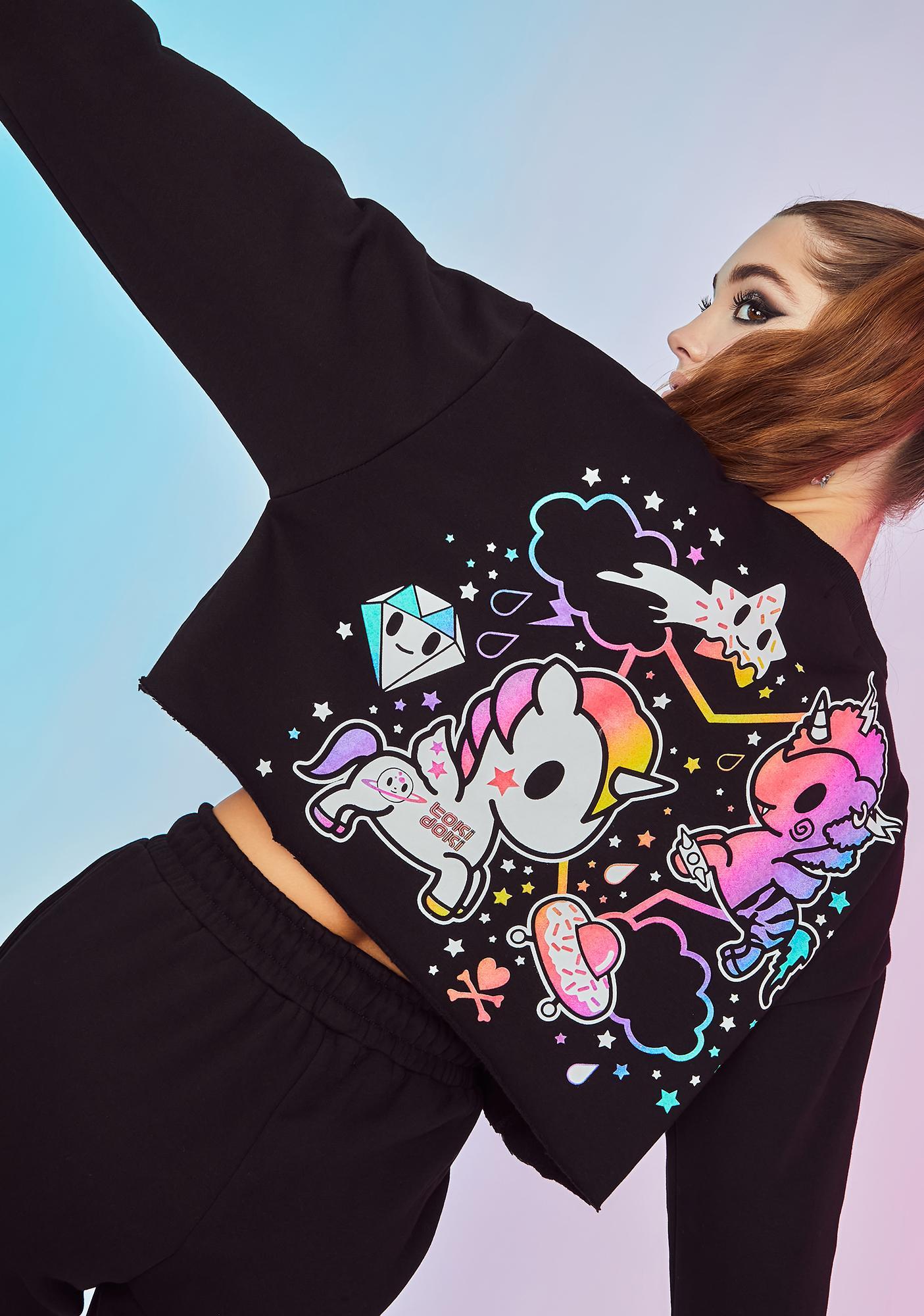Dolls Kill x tokidoki Intergalactic Magic Graphic Crop Sweatshirt