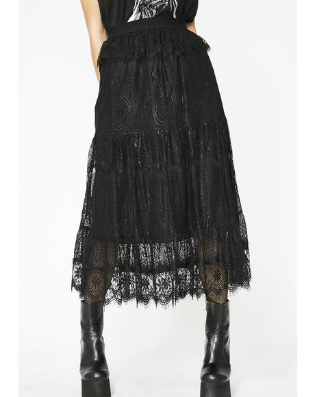 Deep Dark Secret Lace Skirt