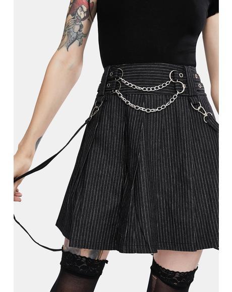 Manson Pinstripe Suspender Skirt