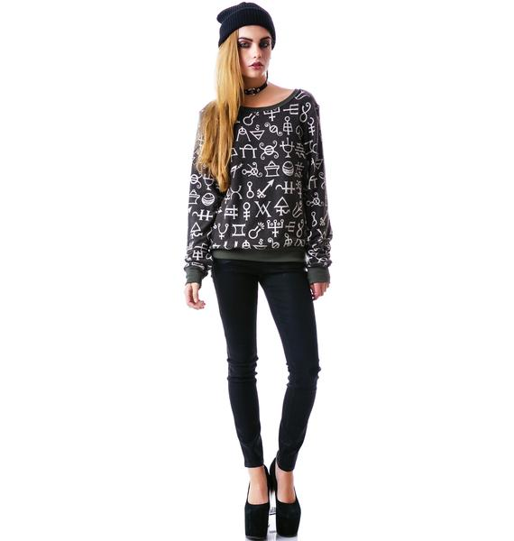 Wildfox Couture Speaking Witchcraft Vintage Varsity Baggy Beach Jumper