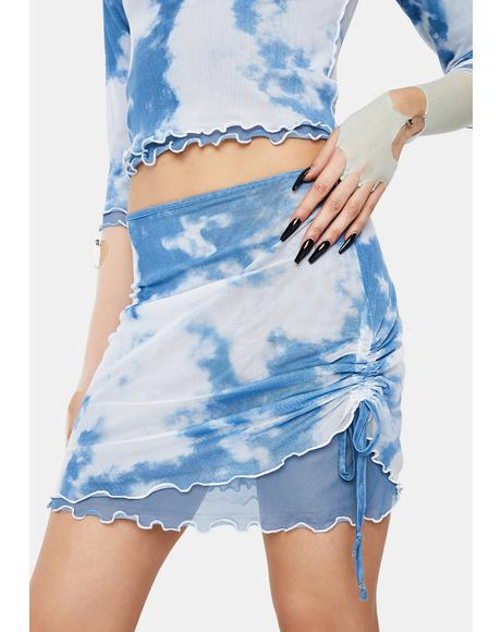 Cloud Print Layered Mesh Mini Skirt