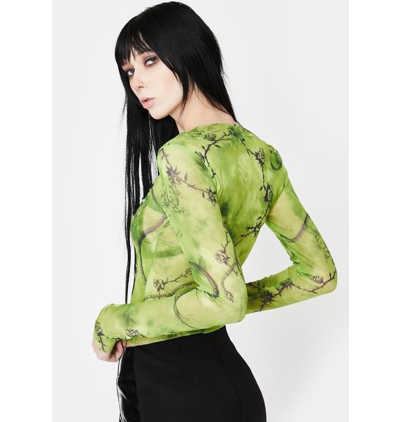 I AM GIA Green Crescent Mesh Long Sleeve Top
