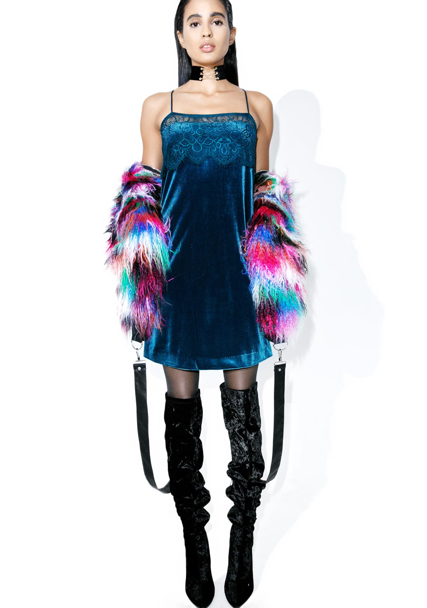 Sapphire Vision Velvet Slip Dress