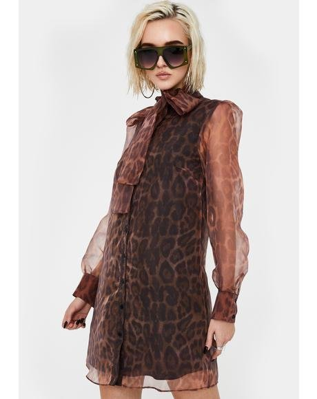 Leopard Organza Puff Sleeve Dress