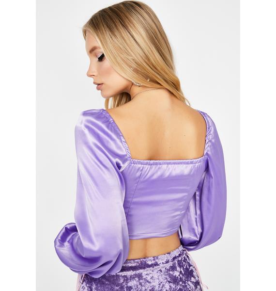 Lavender U Make Me Wanna Satin Top
