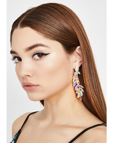 Prismatic Ivy Rhinestone Earrings